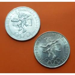 2 monedas x MEXICO 25 PESOS 1968 JUEGOS OLIMPICOS Tipo 2 + Tipo 3 @ERROR AROS BAJOS y LENGUA LARGA+CORTA@ KM.479 PLATA