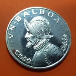 PANAMA 1 BALBOA 1972 VASCO NUÑEZ DE BALBOA KM.27 MONEDA DE PLATA PROOF Diseño Tipo 3 silver coin