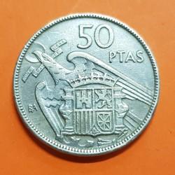 ESPAÑA 50 PESETAS 1957 * BA BARCELONA EXPOSICION NUMISMATICA FRANCISCO FRANCO KM.788 MONEDA DE NICKEL MBC Estado Español