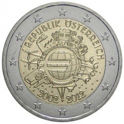 AUSTRIA 2 EUROS 2012 X ANIVERSARIO DEL EURO SC MONEDA CONMEMORATIVA BIMETALICA Österreich