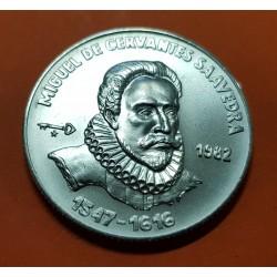 5 PESOS 1982 MIGUEL DE CERVANTES SAAVEDRA Serie DON QUIJOTE KM.99 MONEDA DE PLATA SC Caribe silver coin