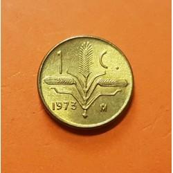@RARA@ MEXICO 1 CENTAVO 1973 HOJA DE ROBLE y LAUREL KM.418 MONEDA DE LATON SC Mejico Mexiko coin