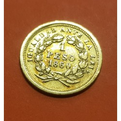 @OFERTA@ CHILE 1 PESO DE ORO 1860 DAMA IGUALDAD ANTE LA LEY KM.133 MONEDA DE ORO @ESCASA@ gold coin