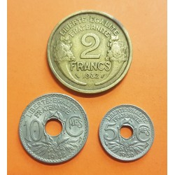 3 monedas x FRANCIA 5 CENTIMOS 1930 LINDAUER + 10 CENTIMOS 1922 LINDAUER + 2 FRANCOS 1932 DAMA NICKEL y LATON