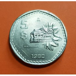 MEXICO 5 PESOS 1980 ESCULTURA MAYA QUETZALCOATL KM.485 MONEDA DE NICKEL SC- Mejico Mexiko coin