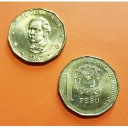 REPUBLICA DOMINICANA 1 PESO 1997 DUARTE PADRE DE LA PATRIA KM.80.2 MONEDA DE LATON SC Dominican Republic