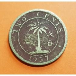 LIBERIA 2 CENTIMOS 1937 ELEFANTE y PALMERA KM.12 MONEDA DE LATON @ESCASA@ Africa 2 Cents