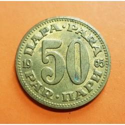 YUGOSLAVIA 50 PARA 1965 ESCUDO DE LA REPUBLICA SOCIALISTA KM.46.1 MONEDA DE LATON MBC+