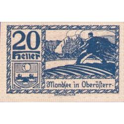 @NOTGELD@ AUSTRIA 20 HELLER 1920 GRANJERO y MONTAÑAS STADT MONDSEE IN OBERÖSTERR Pick FS.626H1 BILLETE SC Germany