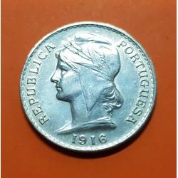 PORTUGAL 50 CENTAVOS 1916 BUSTO DE DAMA ALEGORICA KM.561 MONEDA DE PLATA MBC+ 1/2 Escudo silver coin
