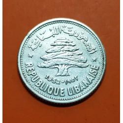 LIBANO 50 PIASTRAS 1952 CEDRO ARBOL SAGRADO KM.17 MONEDA DE PLATA MBC Lebanon silver 50 Piastres 1