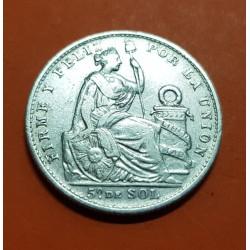 PERU 1/5 DE SOL 1907 FG Ceca de Lima DAMA SENTADA KM.205.2 MONEDA DE PLATA MBC República Peruana