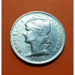 PORTUGAL 50 CENTAVOS 1914 BUSTO DE DAMA ALEGORICA KM.561 MONEDA DE PLATA MBC+ 1/2 Escudo silver coin
