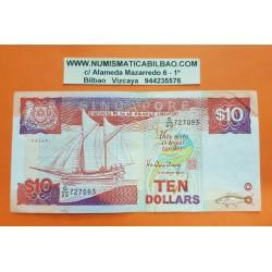 SINGAPUR 10 DOLARES 1988 BARCO PALARI Pick 20 BILLETE CIRCULADO @ESCASO@ Singapore BANKNOTE PVP NUEVO 27€