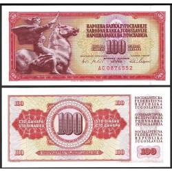 YUGOSLAVIA 100 DINARA 1965 GUERRERO MONTADO A CABALLO Pick 80 BILLETE SC BANKNOTE UNC