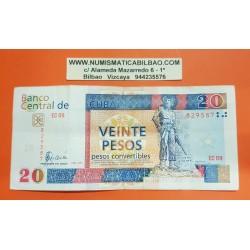 20 PESOS CONVERTIBLES 2008 MONUMENTO A CAMILO CIENFUEGOS Serie EC09 Pick FX50 BILLETE MBC @ESCASO@ Caribe PVP NUEVO 60€