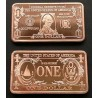 @COBRE 1 ONZA 2019@ ESTADOS UNIDOS billete 1 DOLAR GEORGE WASHINGTON FORMA DE LINGOTE PROOFLIKE USA OZ 999 COPPER CAPSULA