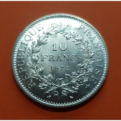 FRANCIA 10 FRANCOS 1972 HERCULES KM.932 MONEDA DE PLATA SC @RARA@ France silver 10 Francs
