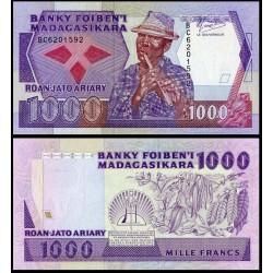 MADAGASCAR 1000 FRANCOS 1988 NATIVO CON FLAUTA Pick 72A Firma 2 BILLETE SC Africa UNC BANKNOTE 200 Ariary