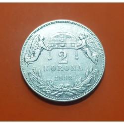 AUSTRIA 2 CORONAS 1912 AGUILA PLATA SC- Silver Osterreich Krone