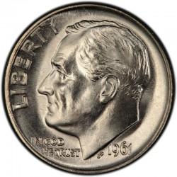USA 10 CENTS DIME 1961 D ROOSVELT SILVER UNC