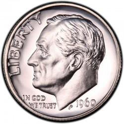 ESTADOS UNIDOS 10 CENTAVOS DIME 1960 P ROOSVELT PLATA SC USA