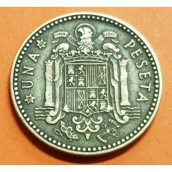ESPAÑA 1 PESETA 1947 * 19 49 FRANCO y AGUILA FRANQUISTA MONEDA DE LATON MBC @RARA@ ESTADO ESPAÑOL 3