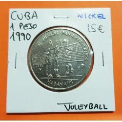 @OFERTA@ 1 PESO 1990 VOLEYBALL XI JUEGOS PANAMERICANOS KM.311 MONEDA DE NICKEL SC Caribe