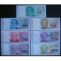 7 billetes x ARGENTINA 1+5+10+50+100+500+1000 AUSTRALES 1985 a 1990 HERORES Pick 323 a 329 SC UNC BANKNOTE