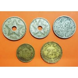 5 monedas x CONGO BELGA 10 + 20 + 50 CENTIMOS + 1 FRANCO + 2 FRANCOS 1911/1926/1944/1947 LATON y NICKEL