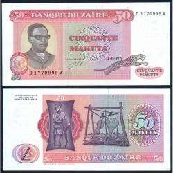 ZAIRE 50 MAKUTA 1979 GUEPARDO, NATIVO y DICTADOR MOBUTU Pick 17 BILLETE SC Africa UNC BANKNOTE