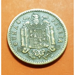 ESPAÑA 1 PESETA 1947 * 19 50 FRANCO y AGUILA FRANQUISTA MONEDA DE LATON MBC @RARA@ ESTADO ESPAÑOL 1