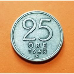 SUECIA 25 ORE 1943 CORONA REY GUSTAV V KM.816 MONEDA DE PLATA MBC Sweden silver OCUPACION NAZI III REICH