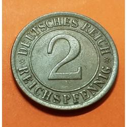 ALEMANIA 2 REICHSPFENNIG 1925 A CEREALES República del WEIMAR KM.38 MONEDA DE BRONCE EBC Germany copper coin