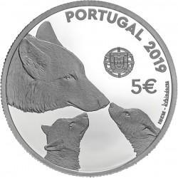 PORTUGAL 5 EUROS 2019 LOBO IBERICO CANUS LUPUS 4ª MONEDA DE NICKEL SC Tirada 40000 uds