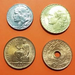 4 monedas x ESPAÑA 5 CENTIMOS 1937 + 25 CENTIMOS 1938 + 50 CENTIMOS 1937 + 1 PESETA 1937 REPUBLICA ESPAÑOLA SC/SC-