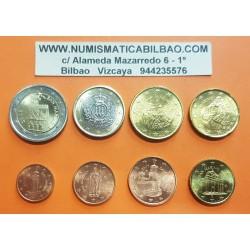 SAN MARINO MONEDAS EURO 2005 SC 1+2+5+10+20+50 CENTIMOS 1 EURO + 2 EUROS 2005 REVERSO TIPO 1 @5 Centimos con pátina@