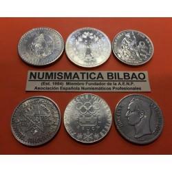6 monedas PLATA x FRANCIA + MARRUECOS + PERU + MEXICO + AUSTRIA + VENEZUELA 4 ONZAS 1929/1978
