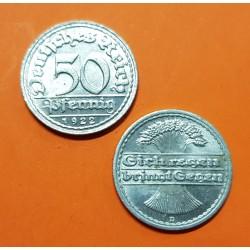 ALEMANIA 50 PFENNIG 1922 D CEREALES República del Weimar KM.27 MONEDA DE ALUMINO SC Germany 50 Reichspfennig