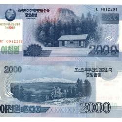 KOREA DEL NORTE 2000 WON 2012 Edición 100 ANIVERSARIO CABAÑA Epoca de KIM II SUNG Pick CS16 BILLETE SC North UNC BANKNOTE