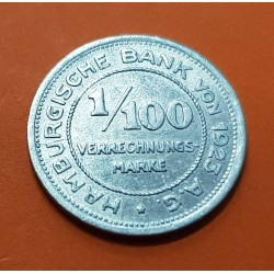ALEMANIA 1/100 MARCOS 1923 WEIMAR HAMBURGO MONEDA DE ALUMINIO MBC Germany WAR MONEY TOKEN NOTGELD