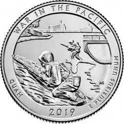 @3ª MONEDA@ ESTADOS UNIDOS 25 CENTAVOS 2019 D Parque Nacional WAR IN THE PACIFIC - SOLDADOS en GUAM NICKEL SC USA Quarter