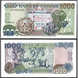 GHANA 1000 CEDIS 1996 DICIEMBRE DIAMANTES y RECOLECTORES DE CACAO Pick 32 BILLETE SC Africa UNC BANKNOTE