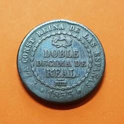 @RARA@ ESPAÑA REINA ISABEL II DOBLE DECIMA DE REAL 1853 Ceca de SEGOVIA KM.601 MONEDA DE COBRE Spain 1/5 DE REAL 1853