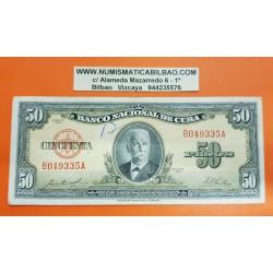 50 PESOS 1958 CALIXTO GARCIA IÑIGUEZ Pick 81B MBC @ESCRITO A BOLI@ Caribe banknote
