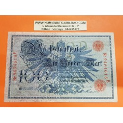 ALEMANIA 100 MARCOS 1908 IMPERIO AGUILA y ALEGORIA Pick 33A BILLETE MBC Germany 100 Marks BANKNOTE