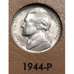ESTADOS UNIDOS 5 CENTAVOS 1944 P THOMAS JEFFERSON y MONTICELLO KM.192A MONEDA DE PLATA SC USA 5 Cents WWII