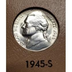 ESTADOS UNIDOS 5 CENTAVOS 1945 S THOMAS JEFFERSON y MONTICELLO KM.192A MONEDA DE PLATA SC USA 5 Cents WWII