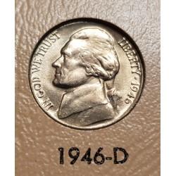 ESTADOS UNIDOS 5 CENTAVOS 1946 D THOMAS JEFFERSON y MONTICELLO KM.192A MONEDA DE NICKEL SC USA 5 Cents