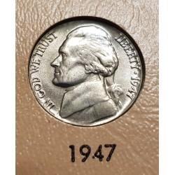 ESTADOS UNIDOS 5 CENTAVOS 1947 THOMAS JEFFERSON y MONTICELLO KM.192A MONEDA DE NICKEL SC USA 5 Cents